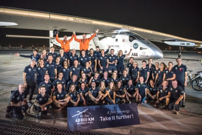 Abu Dhabi, UAE, July 26th 2016: Solar Impulse landing after completing first solar ever flight around the world @Solar Impulse Foundation Revillard rezo ch