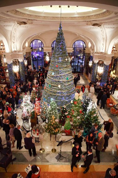 an enchanted forst of decorated christmas trees at the hotel de paris in monte carlo - Enchanted Forest Christmas Trees