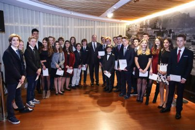 HSH Prince Albert with the Outward Bound Monaco award winners 2016©EdWImages_OB Awards16_0478