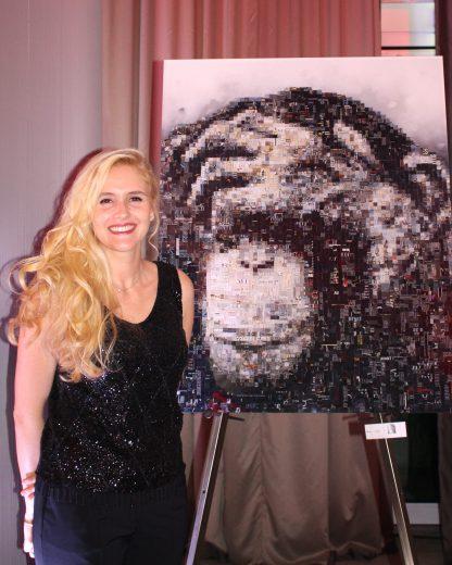 Jen Miller with her artwork Pixel People 2016 @CelinaLafuentedeLavotha