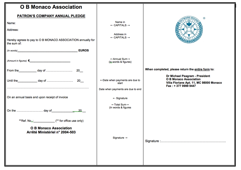 OBM Patron's Company Pledge Form