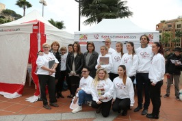 Princess Stephanie with daughter Pauline surrounded by members of Fight Aids Monaco during Test in the City@FAM2016
