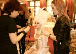 Backstage during a make up session for the artists to perform in the Grand Masked Ball of Venice in Monte-Carlo 2017 @CelinaLafuentedeLavotha