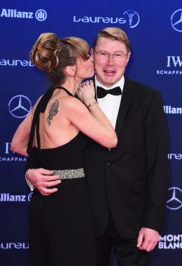 MONACO - FEBRUARY 14: Laureus Academy member Mika Hakkinen and guest attend the 2017 Laureus World Sports Awards at the Salle des Etoiles,Sporting Monte Carlo on February 14, 2017 in Monaco, Monaco. (Photo by Eamonn M. McCormack/Getty Images for Laureus) *** Local Caption *** Mika Hakkinen