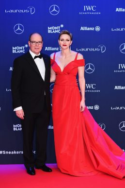 MONACO - FEBRUARY 14: Prince Albert II of Monaco and his wife Charlene,Princess of Monaco attend the 2017 Laureus World Sports Awards at the Salle des Etoiles,Sporting Monte Carlo on February 14, 2017 in Monaco, Monaco. (Photo by Eamonn M. McCormack/Getty Images for Laureus) *** Local Caption *** Prince Albert II of Monaco; Charlene; Princess of Monaco