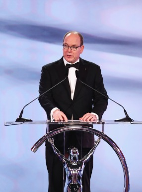 MONACO - FEBRUARY 14: Prince Albert II of Monaco speaks on stage during the 2017 Laureus World Sports Awards at the Salle des Etoiles,Sporting Monte Carlo on February 14, 2017 in Monaco, Monaco. (Photo by Matthew Lewis/Getty Images for Laureus) *** Local Caption *** Prince Albert II of Monaco