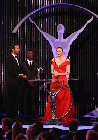 MONACO - FEBRUARY 14: Charlene,Princess of Monaco speaks as the winners of the Laureus Sport For Good award from Waves For Change look on during the 2017 Laureus World Sports Awards at the Salle des Etoiles,Sporting Monte Carlo on February 14, 2017 in Monaco, Monaco. (Photo by Matthew Lewis/Getty Images for Laureus) *** Local Caption *** Charlene; Princess of Monaco; Tim Conibear