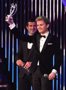 MONACO - FEBRUARY 14: F1 Driver and Laureus Ambassador Nico Rosberg of Germany with his Laureus World Breakthrough of the Year Award as Academy Member Luis Figo looks on during the 2017 Laureus World Sports Awards at the Salle des Etoiles,Sporting Monte Carlo on February 14, 2017 in Monaco, Monaco. (Photo by Stuart C. Wilson/Getty Images for Laureus) *** Local Caption *** Nico Rosberg; Luis Figo