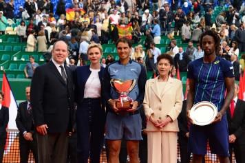 Prince Albert II and Princess Charlene with Baronne Elisabeth Anne de Massy and 2016 finalists Rafael Nadal and Gael Monfils @MCRM2017