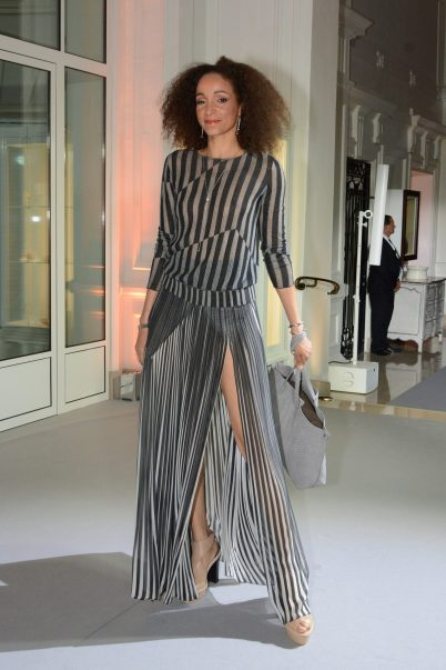 Striped jaquard pullover and silk crepe pleated skirt copyright ©cotemagazine.com