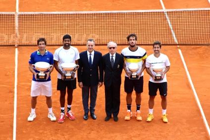 Pablo Cuevas, Rohan Bopanna, Mayor of Monaco Georges Marsan, Alain Manigley, Feliciano Lopez and Marc Lopez @CelinaLafuentedeLavotha