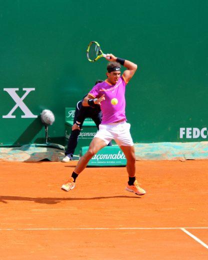 Rafael Nadal showing muscle beat Kyle Edmund MCRM17 @CelinaLafuentedeLavotha