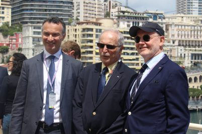 Thomas Battaglione, Bernard Fautrier and H.E. Serge Telle on the SMEG Terrace during the Monaco E-Prix @CelinaLafuentedeLavotha