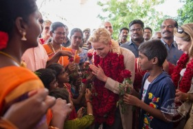 A warm reception of Princess Charlene by the children of Dindigul @MAP