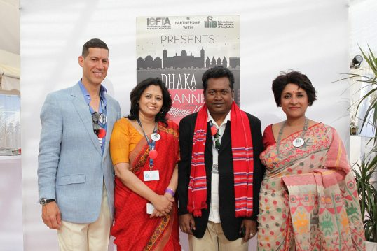 Marco Orsini of IEFTA, and Samia Zaman of IFIB, flank Bangladesh filmmaker participants Lubna Sharmin & Md Abid Mallick at the 2017 IEFTA Dhaka to Cannes70 Plage Royal