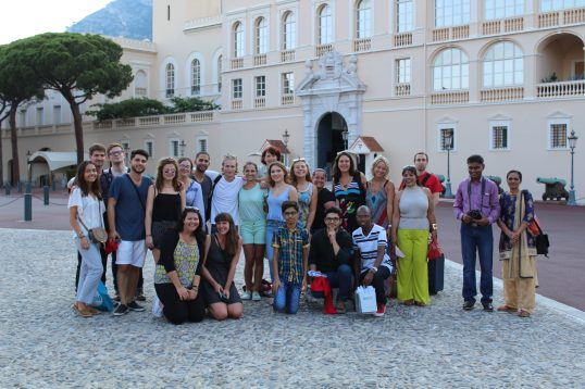 PeaceJam mentors and Hero Award Winners in front of the Monaco Palace