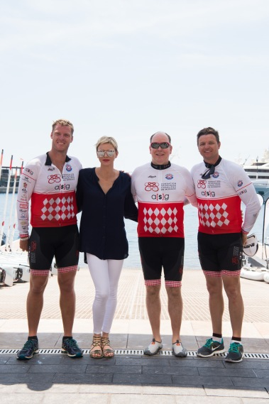 Prince Albert and Princess Charlene with Terence Parkin (L) and Gareth Wittstock (R) and @ Eric Mathon and Axel Bastello : Palais Princier