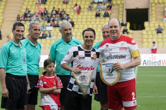 Prince Albert with Felipe Massa both captains of their respective teams exchanging insignias Copyright:A.S Star Team for the Children - J.M Follete