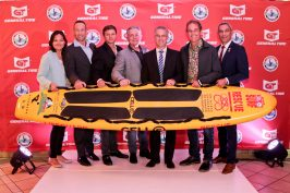 Representatives of Lifesaving SA and Princess Charlene of Monaco Foundation SA at launch ceremony for distribution of surf boards @Howard Cleland
