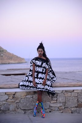 She's the Boss black and white dress with colorful shoes@Vivi Kaparou