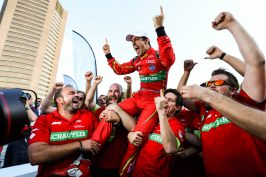 2016/2017 FIA Formula E Championship. Round 12 - Montreal ePrix, Canada Sunday 30 July 2017. Lucas Di Grassi (BRA), ABT Schaeffler Audi Sport, Spark-Abt Sportsline, ABT Schaeffler FE02, celebrates with his team after winning the championship. Photo: Malcolm Griffiths/LAT/Formula E ref: Digital Image MALC7333