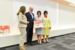 HSH Prince Albert II, FAwzia Zouari, Yasmina Taya and the representative of the school in Algeria that received the Coup de Coeur award @valentina de gaspari