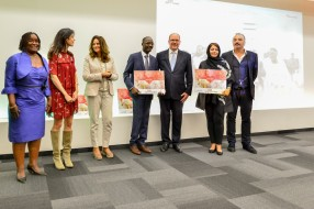 HSH Prince Albert II with representatives of schools in Iran and Benin receiving the Third Prize (Ex-aequo) @valentina de gaspari