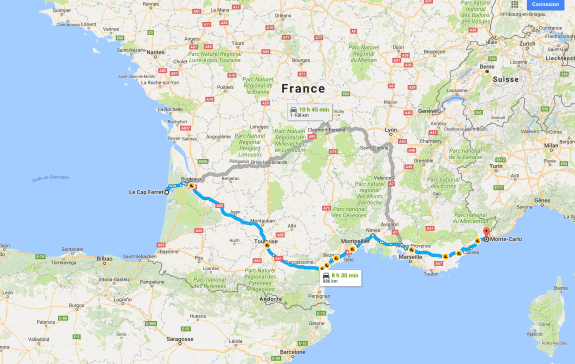 Monte-Carlo to Cap Ferret via Montpellier
