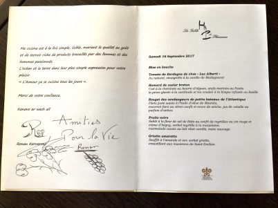 Our personalized menu dedicated by Ronan Kervarrec @CelinaLafuentedeLavotha