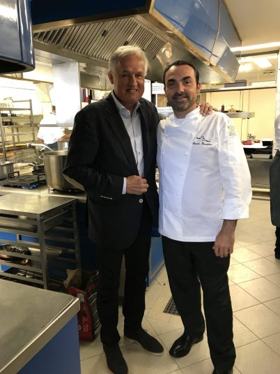 Zsolt Lavotha with Ronan Kervarrec in his kitchen at Hostellerie de Plaisance @CelinaLafuentedeLavotha