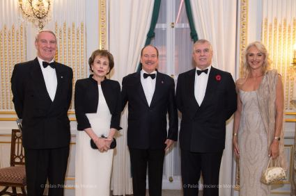 Michael J. Peagram (President OBM), H.E. Evelyne Genta (Amb. of Monaco to UK), HSH Prince Albert, HRH Prince Andrew, Judy Churchill (GS OBM) @Palais Princier Monaco