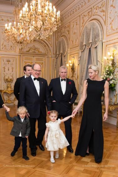Prince Albert II, the Duke of York and Princess Charlene and Prince hereditary Jacques and Princess Gabriella @Palais Princier de Monaco
