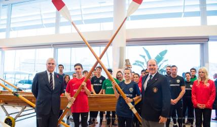 The Duke of York and Prince Albert II with the rowing teams at the Yacht Club of MOnaco @EdWright Images