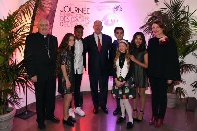 Prince Albert with Archbishop of Monaco Bernard Barsi, Isabelle Bonal and (L-R) Erza, Gabriel, Esteban, Gloria and Nilusi of Kids United © Manuel Vitali : Direction de la Communication