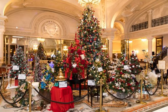 the lobby of the hotel de paris converted into an enchanged forest philipe fitte - Enchanted Forest Christmas Trees