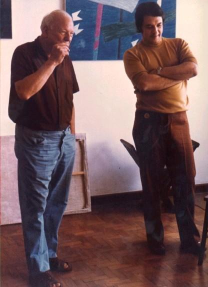 Alfredo Volpi and Marco Antonio Mastrobuono at the artist's atelier @DASartes