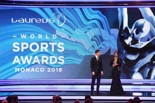 Benedict Cumberbatch and Kate Abdo at the 2018 Laureus World Sports Awards in Monaco, February 27, 2018 @Stuart C. Wilson/Getty images for Laureus