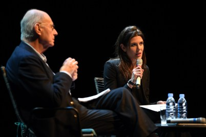 Boris Cyrulnik and Charlotte Casiraghi, Rencontres Philosophiques de Monaco, Children and Violence 2018.© Manuel Vitali : Direction de la Communication