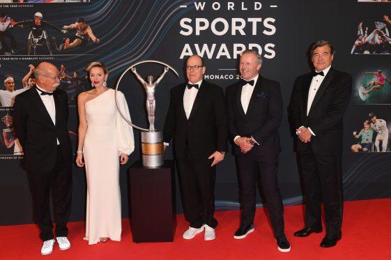 Dr. D. Zetsche, HSH Princeess Charlene, HSH Prince Albert II, Sean Fitzpatrick and guest at 2018 Laureus World Sports Awards @Stuart Wilson/Getty Images for Laureus