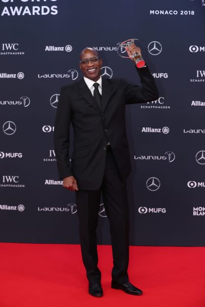 Edwin Moses received award for Lilfetime Achievement at 2018 Laureus World Sports Awards in Monaco 2018 @Boris Streubel/Getty Images for Laureus.jpg