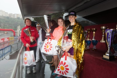 Adriana Maria di Guisto Grigoras, Katarzina Anna Stankiewicz and Mathilde Gautier wiinners of the 10KM Monte-Carlo 2018 @Claude Ingargiola