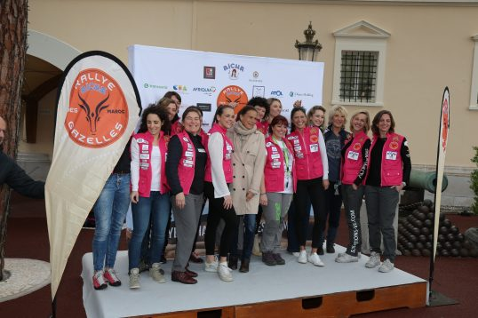 Princess Stephanie with daughter Pauline Ducruet, Dominique Serra, Rallye Director, and other participants in the Rallye Aicha des Gazelles 2018 @Frederic Nabinger