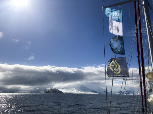 View from sailboat during Antarctic Blanc expedition@Gost Jochen Verne-