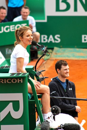Geri Halliwell as Chair Umpire with Jamie Murray by her side during Tennis charity exhibition Saturday, April 14, 2018 RMCM @CelinaLafuentedeLavotha