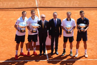 Mike Bryan, Bob Bryan, Alain Manigley, Mayor Georges Marsan, Oliver Marach, Mate Pavic during Double Prize Ceremony Rolex Monte-Carlo Masters 2018 @CelinaLafuentedeLavotha