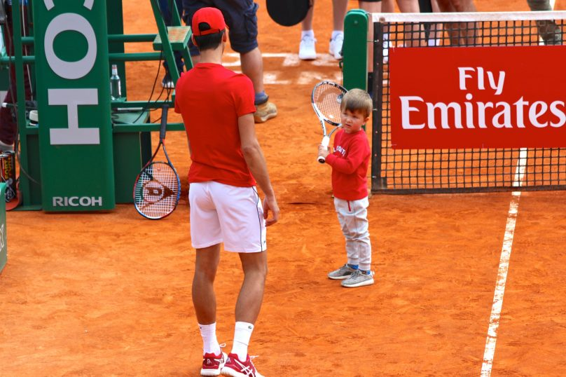 Novak Djokovic and his son Stefan (b.2014) during Tennis charity exhibition at Rolex Monte-Carlo Masters 2018 @CelinaLafuentedeLavotha