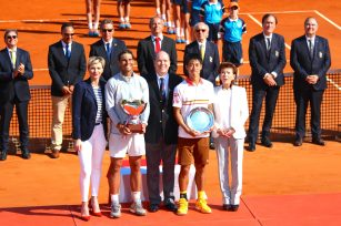 Princess Charlene and Prince Albert with winner Rafael Nadal and runner up Kei Nishikori and Baronne Elisabeth Ann de Massy Rolex Monte-Carlo Masters 2018 @CelinaLafuentedeLavotha