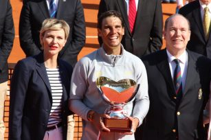 Princess Charlene and Princess Albert surround World No. 1 Rafael Nadal winner of the Rolex Monte-Carlo Masters 2018 @CelinaLafuentedeLavotha