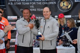 Prince Albert delivering the trophy to the captain of the A.S. Stars Team @J.M. Follete