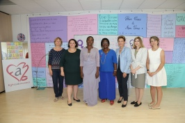 Caroline Obodji and Marcelline Assere with Clauidia Abate, Caroline Aldrin, with representatives of CHPG and Celina Lafuente de Lavotha@F. Nebinger